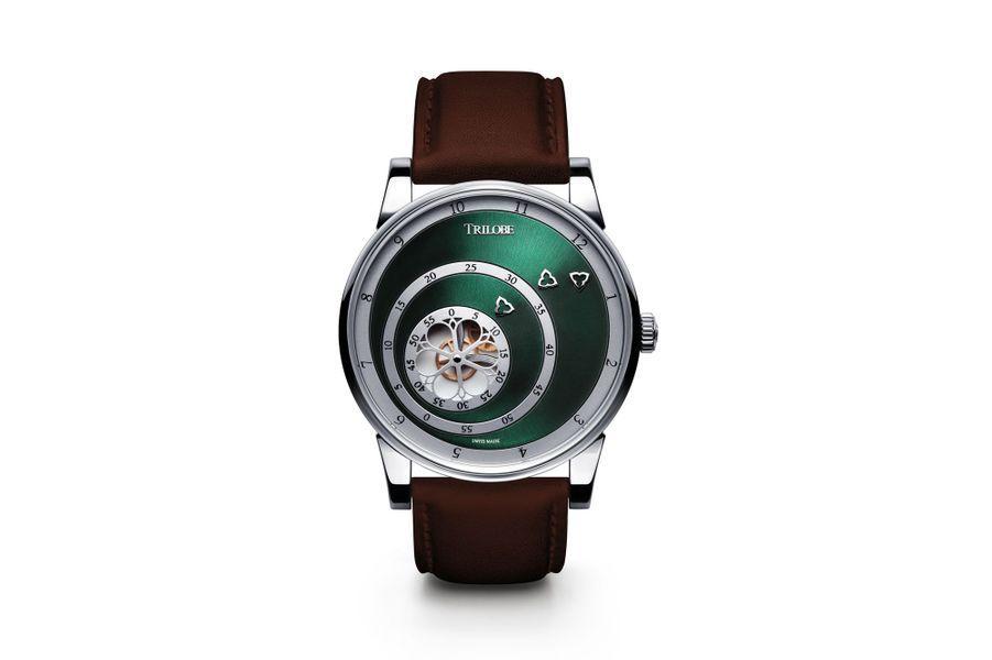 Les Matinaux en acier, 40, 5 mm de diamètre, mouvement automatique, cadran vert soleillé, bracelet en cuir. 7 320 €.