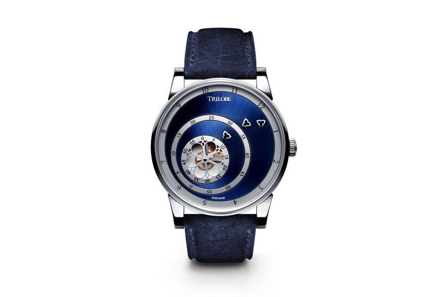 Les Matinaux en acier, 40, 5 mm de diamètre, mouvement automatique, cadran bleu soleillé, bracelet en cuir. 7 320 €.