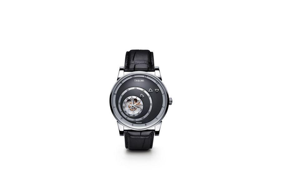 Les Matinaux en acier, 40, 5 mm de diamètre, mouvement automatique, cadran gris orage, bracelet en aligator. 7 320 €.