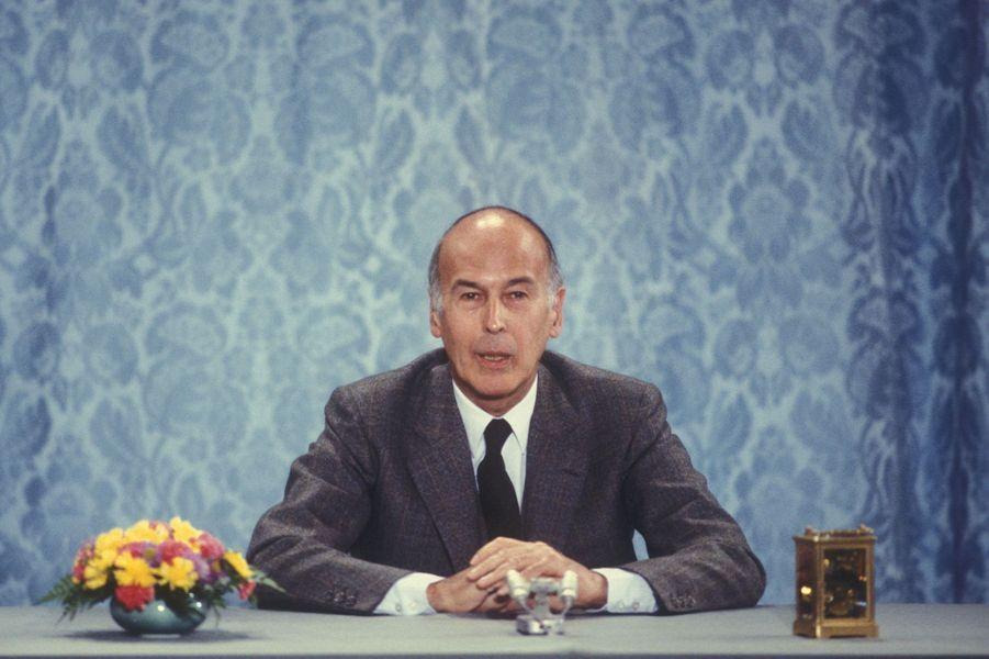 Valéry Giscard d'Estaing lors d'une allocution télévisée.