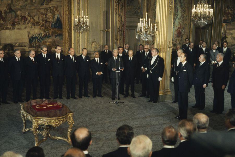 ValéryGiscard d'Estaing le jour de son investiture comme président de la République.
