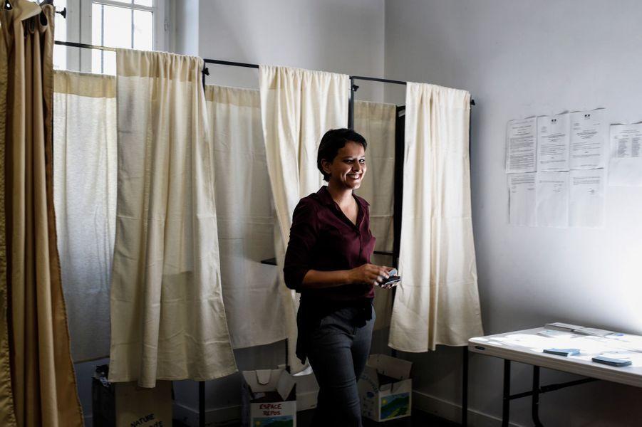 Vote de l'ancienne ministre de l'Education Najat Vallaud-Belkacem, candidate à Villeurbanne.