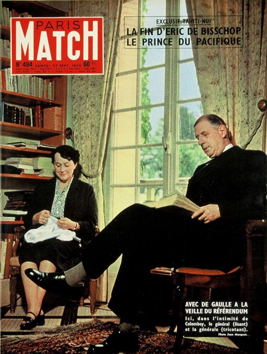 Le Général De Gaulle en couverture du Paris Match n°494 publié le 27 septembre 1958, à la veille du référendum.