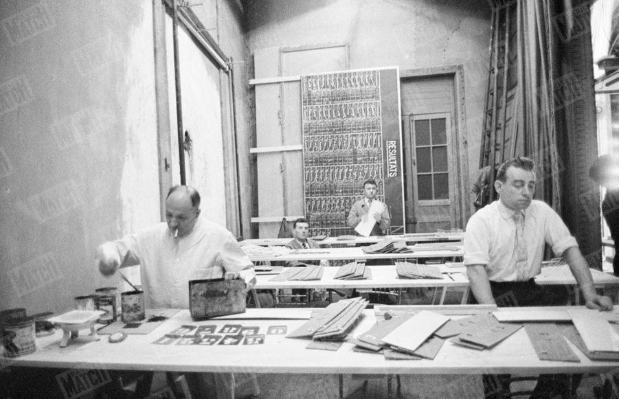 Les résultats du référendum sur la constitution de la Vème République, arrivent au Ministère de l'Intérieur, le 28 septembre 1958.