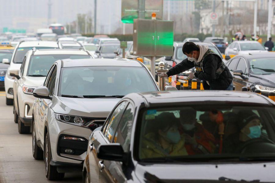 Des embouteillages dans la province de Wuhan.