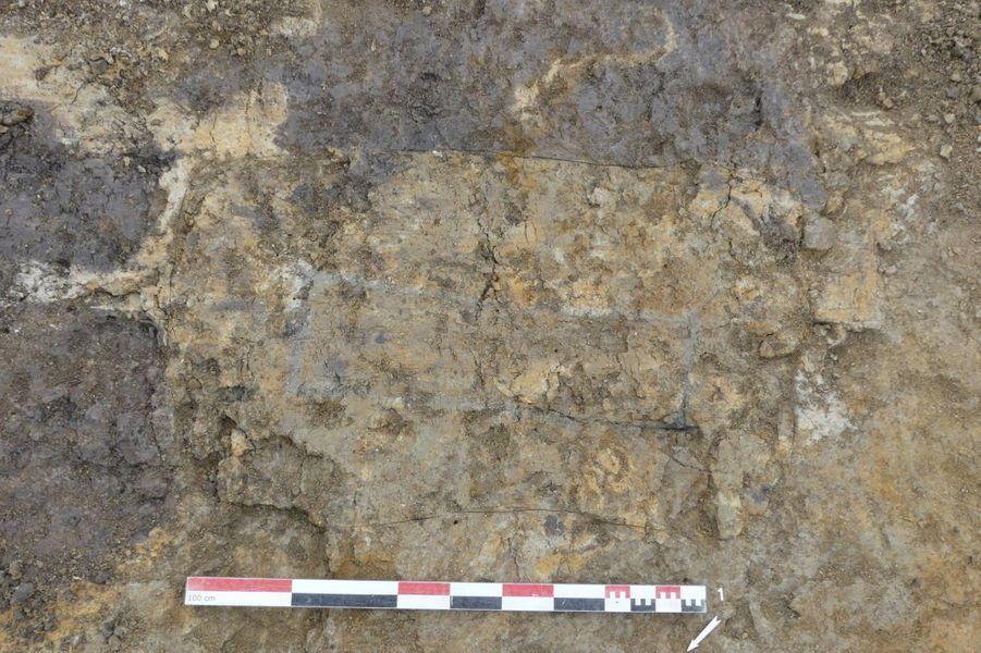 Traces de bois matérialisant la présence ancienne d'un cercueil d'enfant.