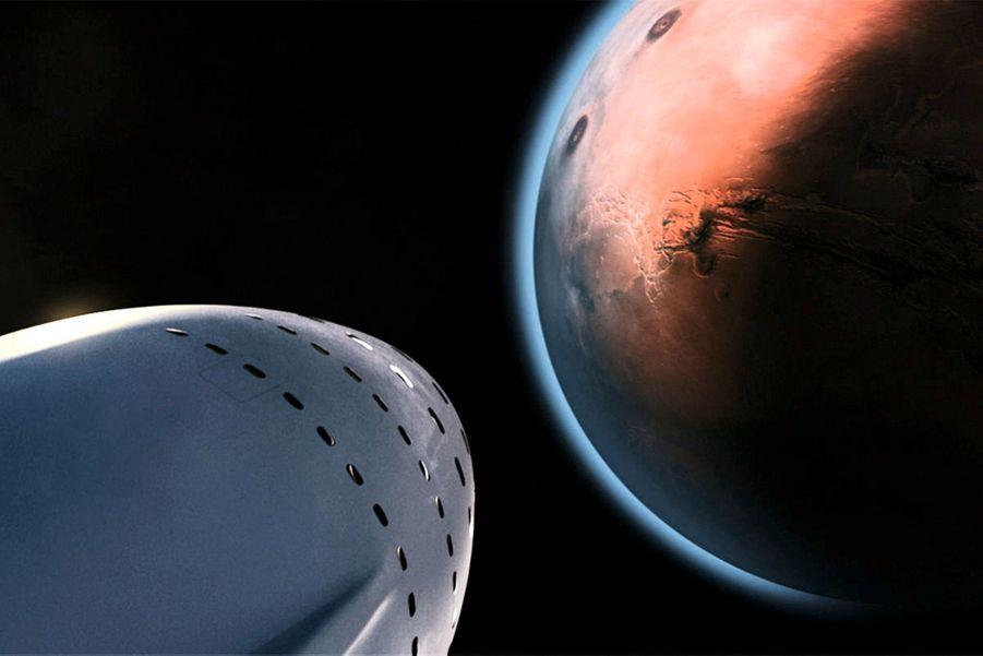 A travers les hublots, voilà ce que les 100 passagers de la Big Falcon Rocket devraient voir apparaître : la planète rouge.