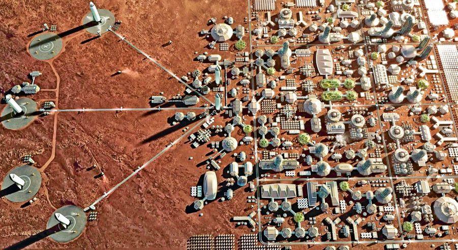 Une colonie martienne telle que Elon Musk l'imagine. Avec les fusées de SpaceX pour assurer la liaison avec la Terre.