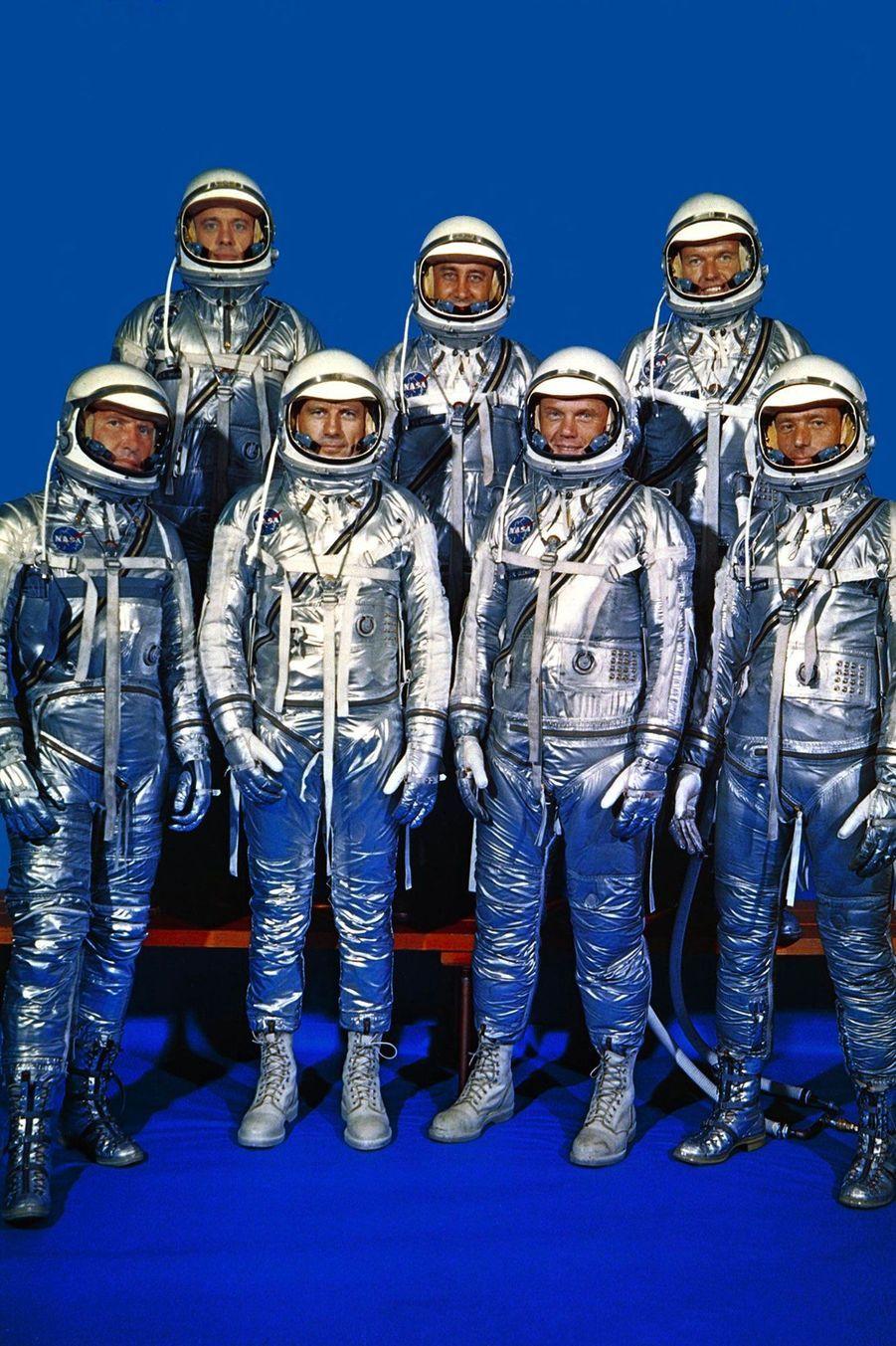 Les 7 astronautes du programme Mercury, le 3 décembre 1962