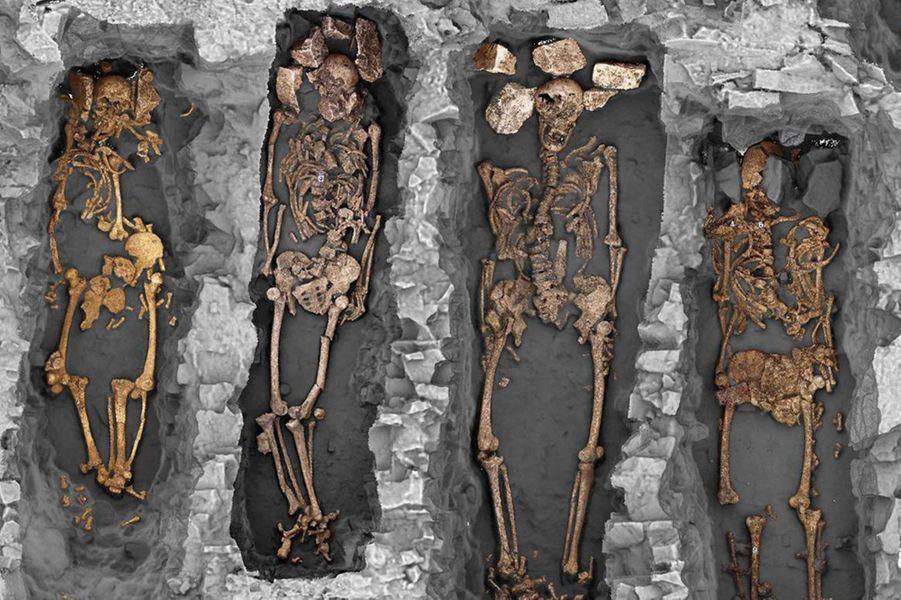 Vue groupée en occlusion ambiante des sépultures. On observe au niveau du crâne des calages avec des blocs calcaires.