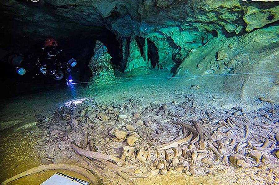 Photographies réalisées par les plongeurs archéologues lors de l'exploration des grottes Sac Atun et Dos Ojos, dans l'Etat de Quintana Roo, au Mexique.