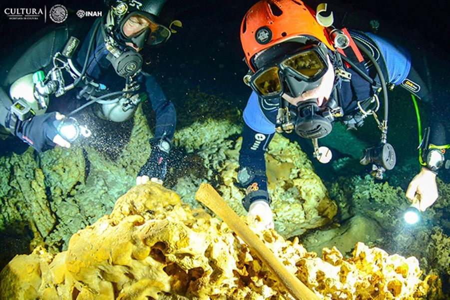 Photographies réalisées par les plongeurs archéologues lors de l'exploration des grottesSac Atun et Dos Ojos,dans l'Etat de Quintana Roo, au Mexique.