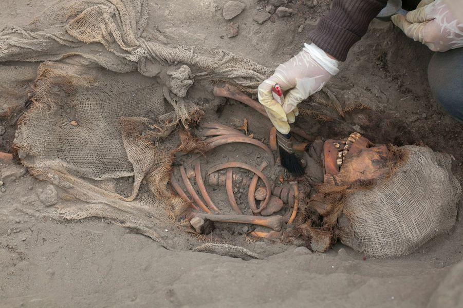 Lors des fouilles archéologiques à Pampa La Cruz, près de la ville de Huanchaco, dans la région côtière de Trujillo, à 700 km au nord de Lima.
