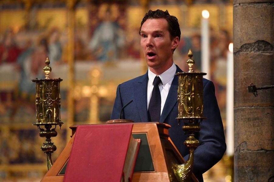 Benedict Cumberbatch, lorsde la cérémonie d'inhumation de l'astrophysicien Stephen Hawking, à Westminster, le 15 juin 2018.