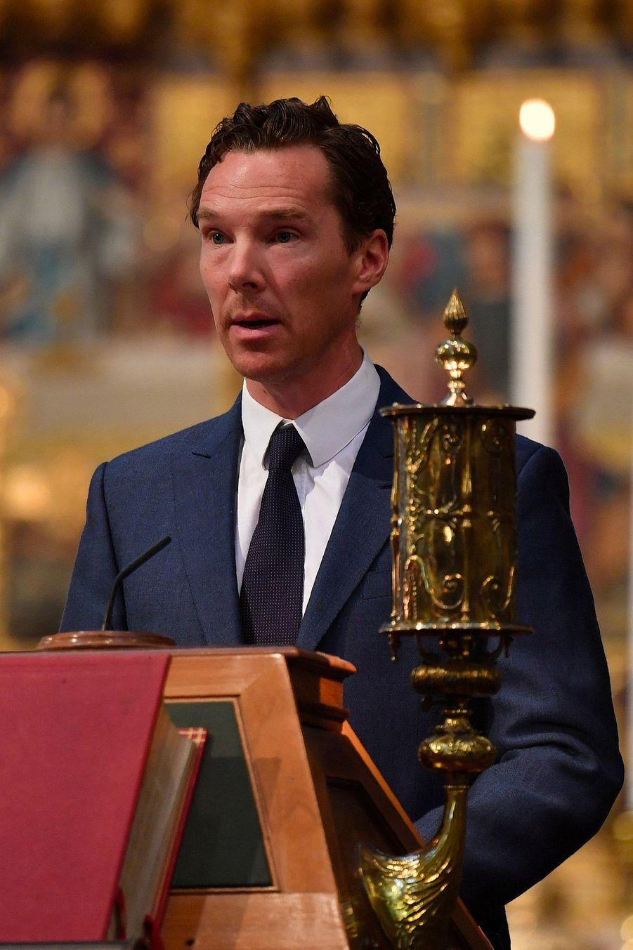 Benedict Cumberbatch, lorsde la cérémonie d'inhumation de l'astrophysicien Stephen Hawking, àWestminster, le 15 juin 2018.