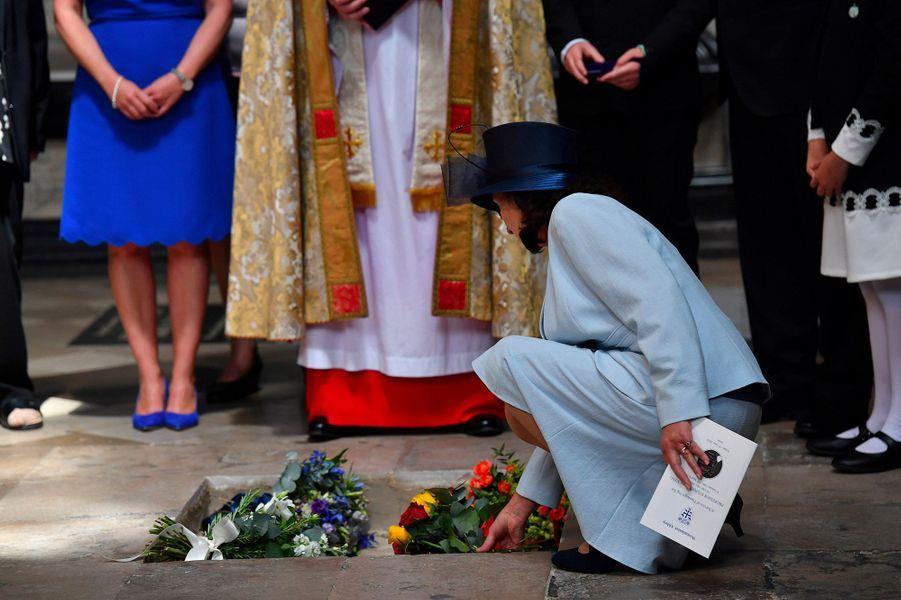 Lorsde la cérémonie d'inhumation de l'astrophysicien Stephen Hawking, àWestminster, le 15 juin 2018.