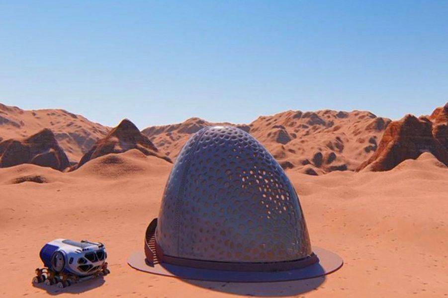 Kahn-Yates, Mississippi : Résister aux violentes tempêtes de sable sur Mars a été la priorité de ces ingénieurs qui ont développé une maison en forme ce coquille d'œuf dotée d'une paroi alvéolaire.