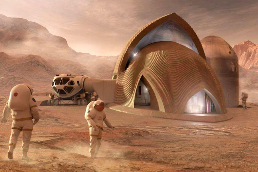 SEArch+/Apis Cor, New York: L'équipe a travaillé sur le composition du sol martien pour élaborer une maison qui puisse résister aux radiations cosmiques tout en offrant une vue panoramique sur les paysages de Mars.