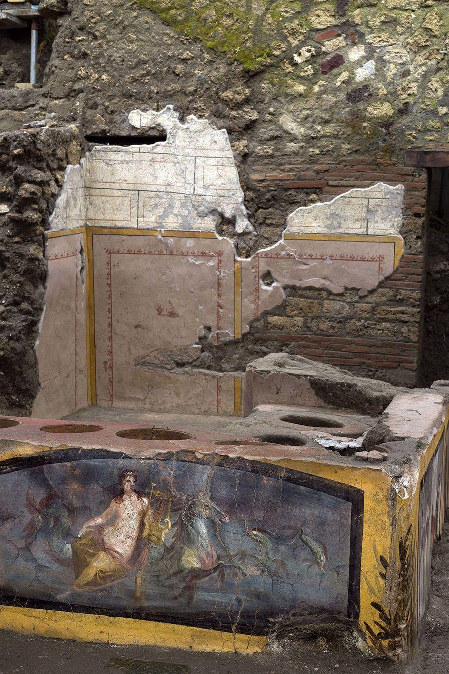 Le comptoir figé par la cendre volcanique avait été en partie exhumé en 2019 mais les travaux ont été étendus pour préserver au mieux l'intégralité de l'emplacement.