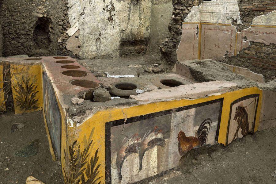 Un thermopolium, sorte de «fast-food» de rue dans la Rome antique, a été mis au jour àPompéi, orné de motifs polychromes et dans un état de conservation exceptionnel.