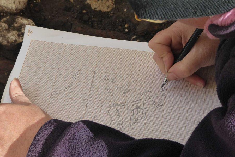 Fouille de la zone de boucherie. Relevé dessin des éléments osseux.