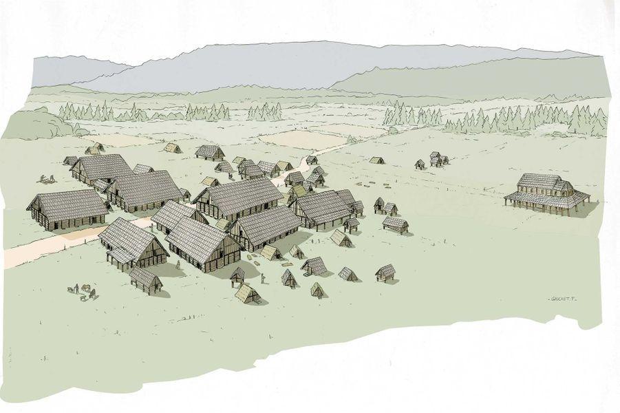 Evocation du village mérovingien mis au jour à Pontarlier, à partir du plan de la fouille.