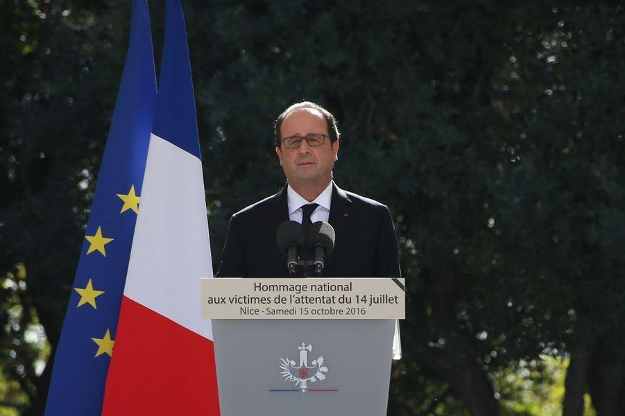 François Hollandeà l'hommage rendu aux 86 victimes de l'attentat de Nice, le 15 octobre 2016.