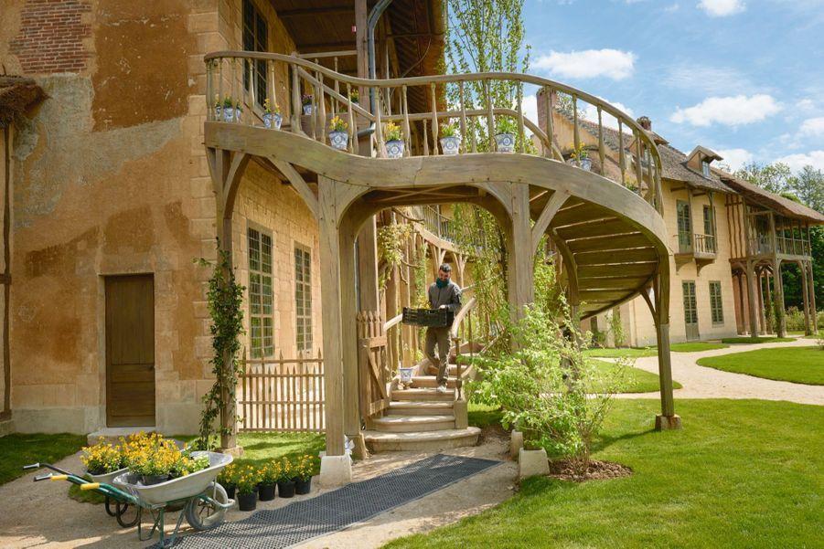 Ivan Thé, responsable des jardins, et son équipe ont installé 91 pots de fleurs sur les galeries du premier étage et les marches de l'escalier voulu par Marie-Antoinette.