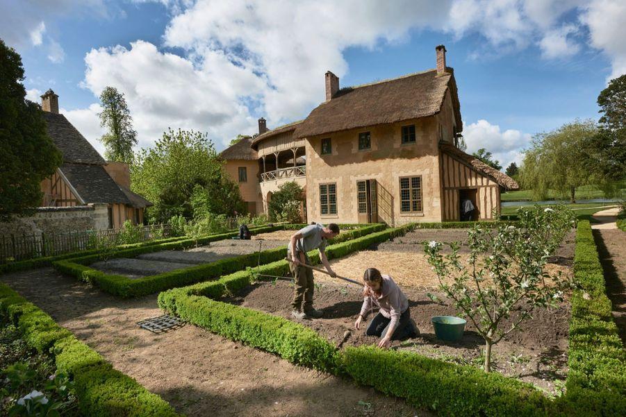 Une équipe de 31 jardiniers a reconstitué les potagers en les enrichissant de nouvelles plantes non disponibles en 1788. A g., le Réchauffoir. Au fond, la salle de billard aux trois fenêtres.