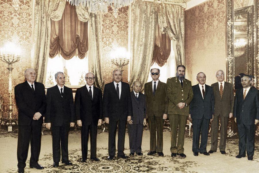 Novembre 1986, dernière photo de groupe des leaders communistes avant la perestroïka. De g. à dr., le Hongrois Janos Kadar, le Roumain Nicolae Ceausescu, l'Allemand de l'Est Erich Honecker, le Russe Mikhaïl Gorbatchev, le Vietnamien Truong Chinh, le Polonais Wojciech Jaruzelski, le Cubain Fidel Castro, le Bulgare Todor Jivkov, le Tchécoslovaque Gustav Husak, le Mongol Jambyn Batmonkh.