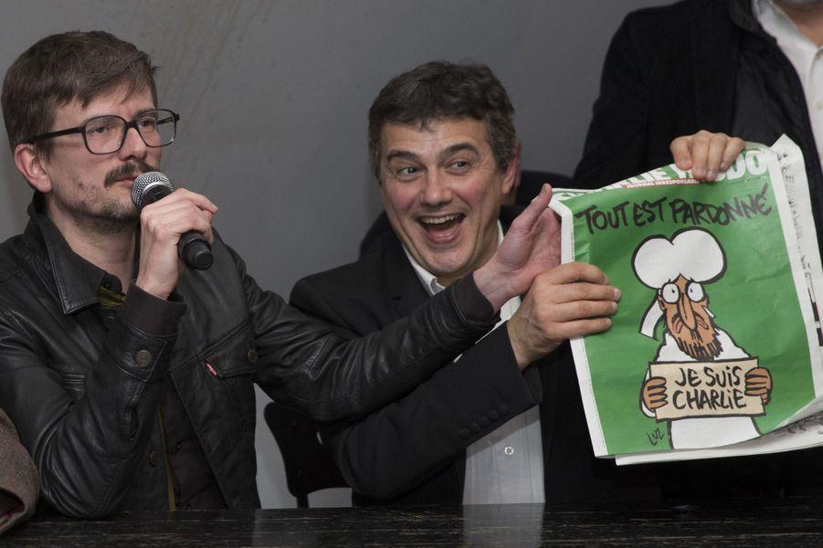 Luz, Patrick Pelloux Et Gerard Briard Présentent Le Prochain Numéro De Charlie Hebdo