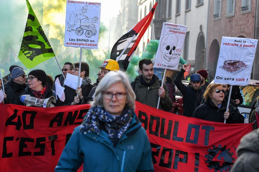 A Strasbourg, lors de la manifestation de mardi.