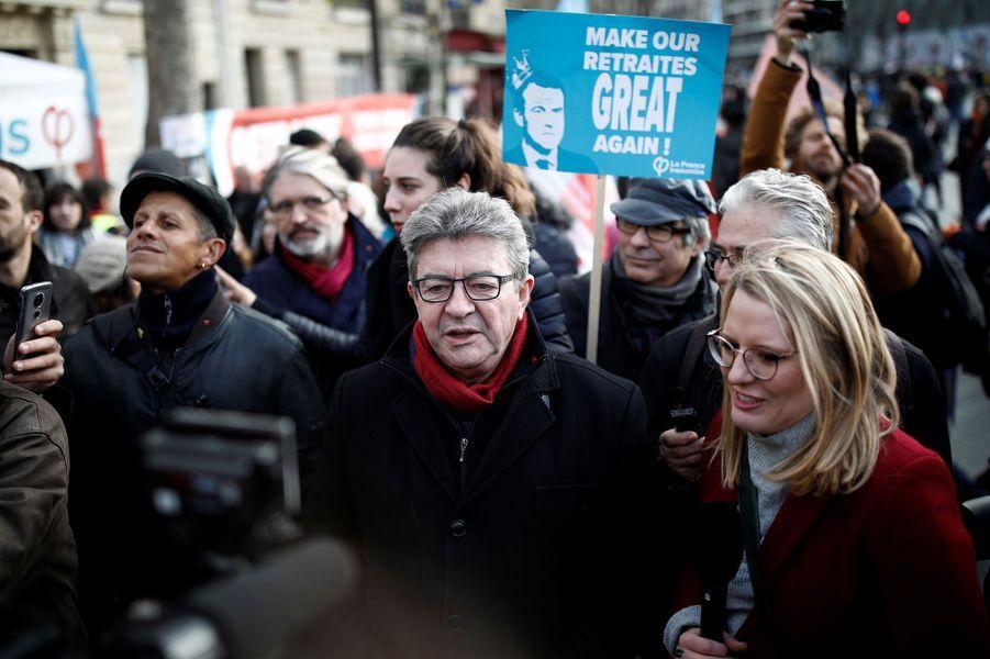 Jean-Luc Mélenchon dans le cortège parisien, mardi.