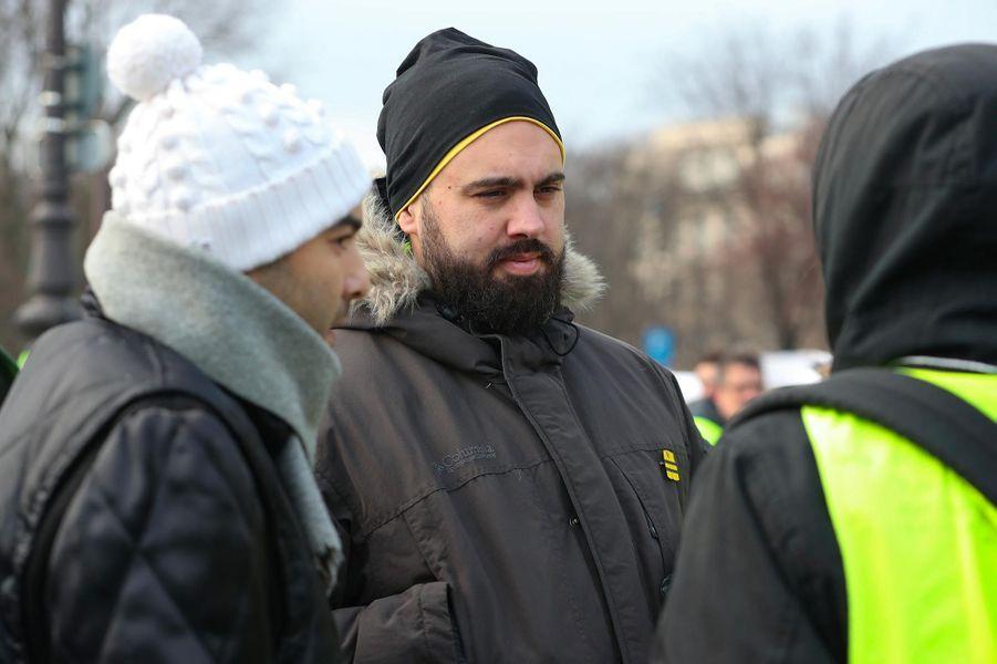 """L'acte X des """"gilets jaunes"""" a démarré à Paris, samedi 19 janvier 2019. Ici, Eric Drouet."""