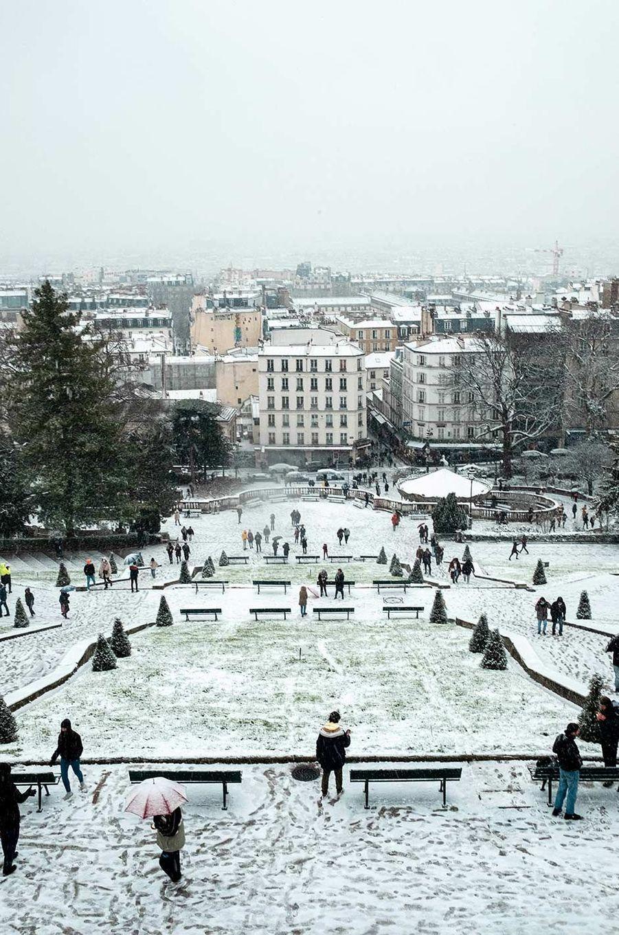 Il a neigé à Paris, le 16 janvier 2021.