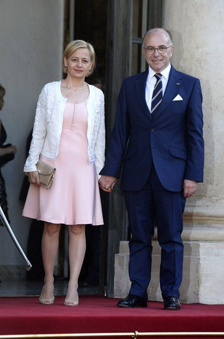 Bernard Cazeneuve et son épouse à l'Elysée pour le dîner d'Etat donné en l'honneur du roi Felipe et de la reine Letizia d'Espagne