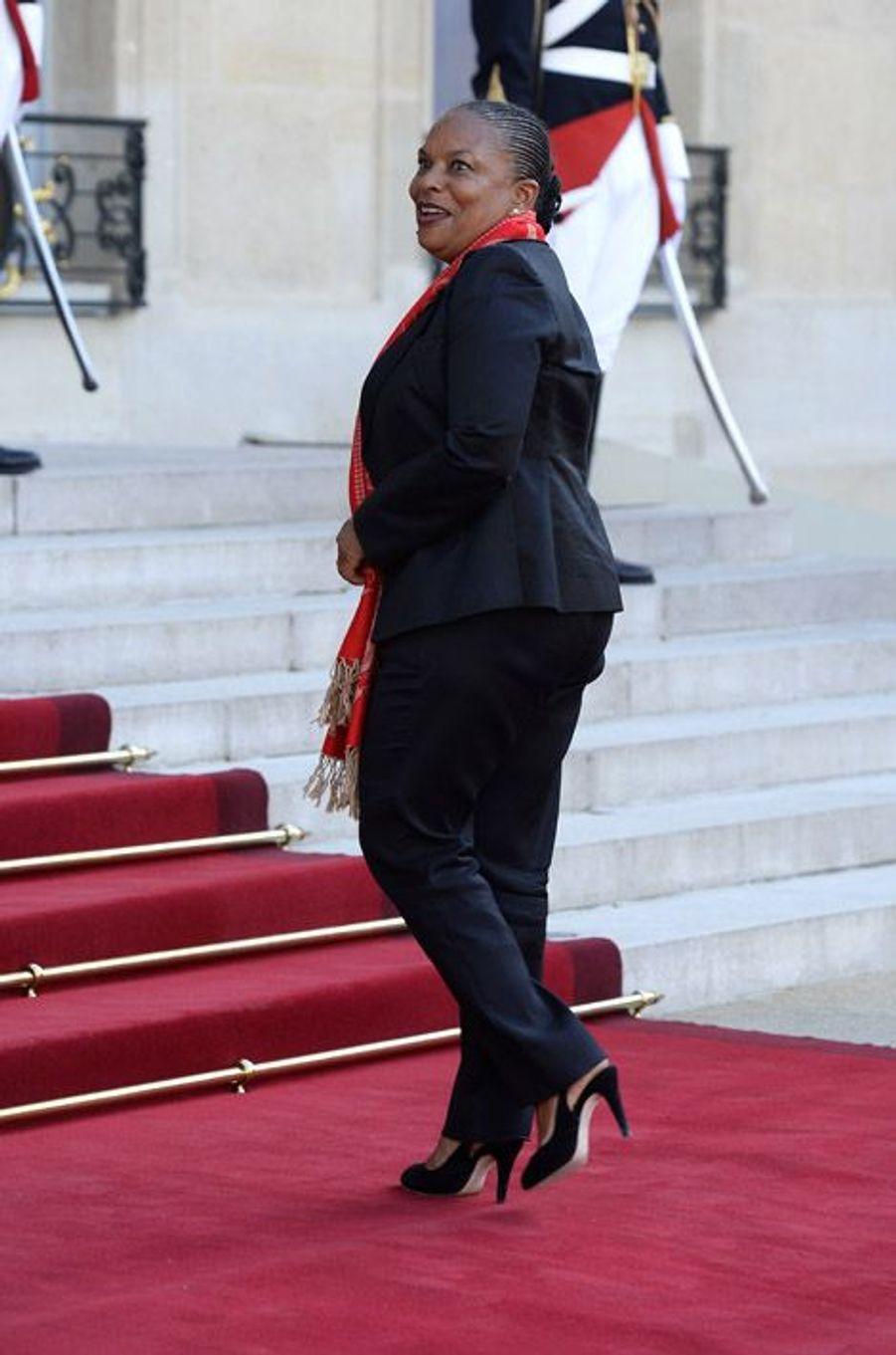 Christiane Taubira à l'Elysée pour le dîner d'Etat donné en l'honneur du roi Felipe et de la reine Letizia d'Espagne