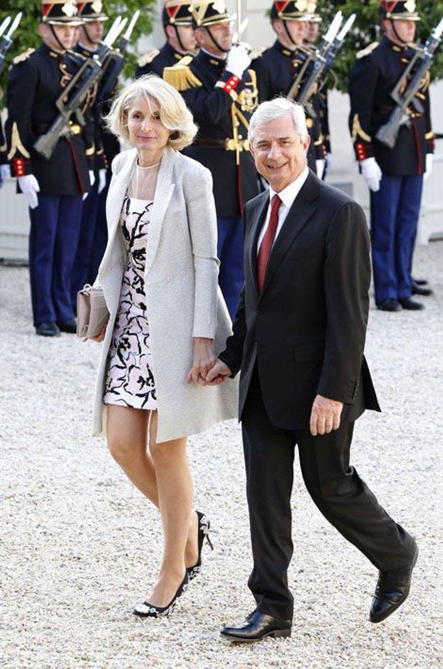 Claude Bartolone et sa femme à l'Elysée pour le dîner d'Etat donné en l'honneur du roi Felipe et de la reine Letizia d'Espagne