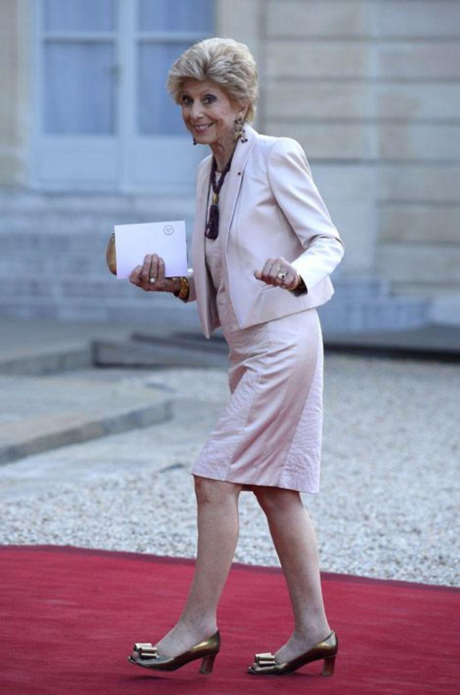 Hélène Carrère d'Encausse à l'Elysée pour le dîner d'Etat donné en l'honneur du roi Felipe et de la reine Letizia d'Espagne