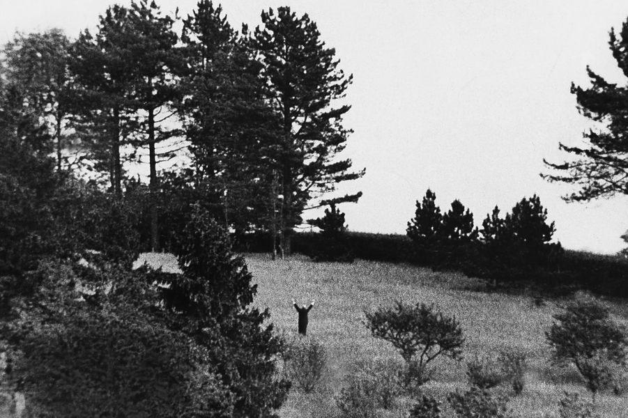 Le Général fait le V de la victoire lors du passage d'avions de chasse après son retour en politique en 1958