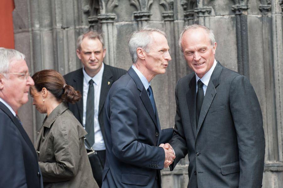 Jean-Dominique Senard et Florent Menegaux aux obsèques de François Michelin à Clermont-Ferrand