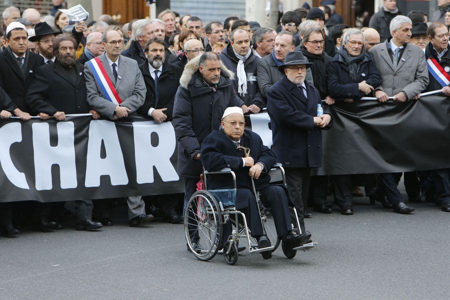 Dalil Boubakeur durant la marche républicaine à Paris