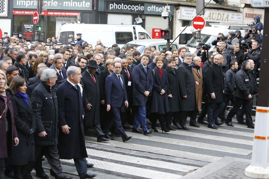 Les chefs d'Etat durant la marche républicaine à Paris