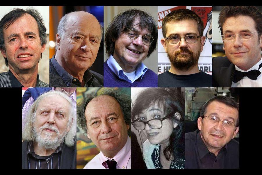 Les victimes de l'attentat de Charlie Hebdo: les dessinateurs Charb, Cabu, Honoré et Tignous, la chroniqueuse Elsa Cayat et le correcteur de presse...
