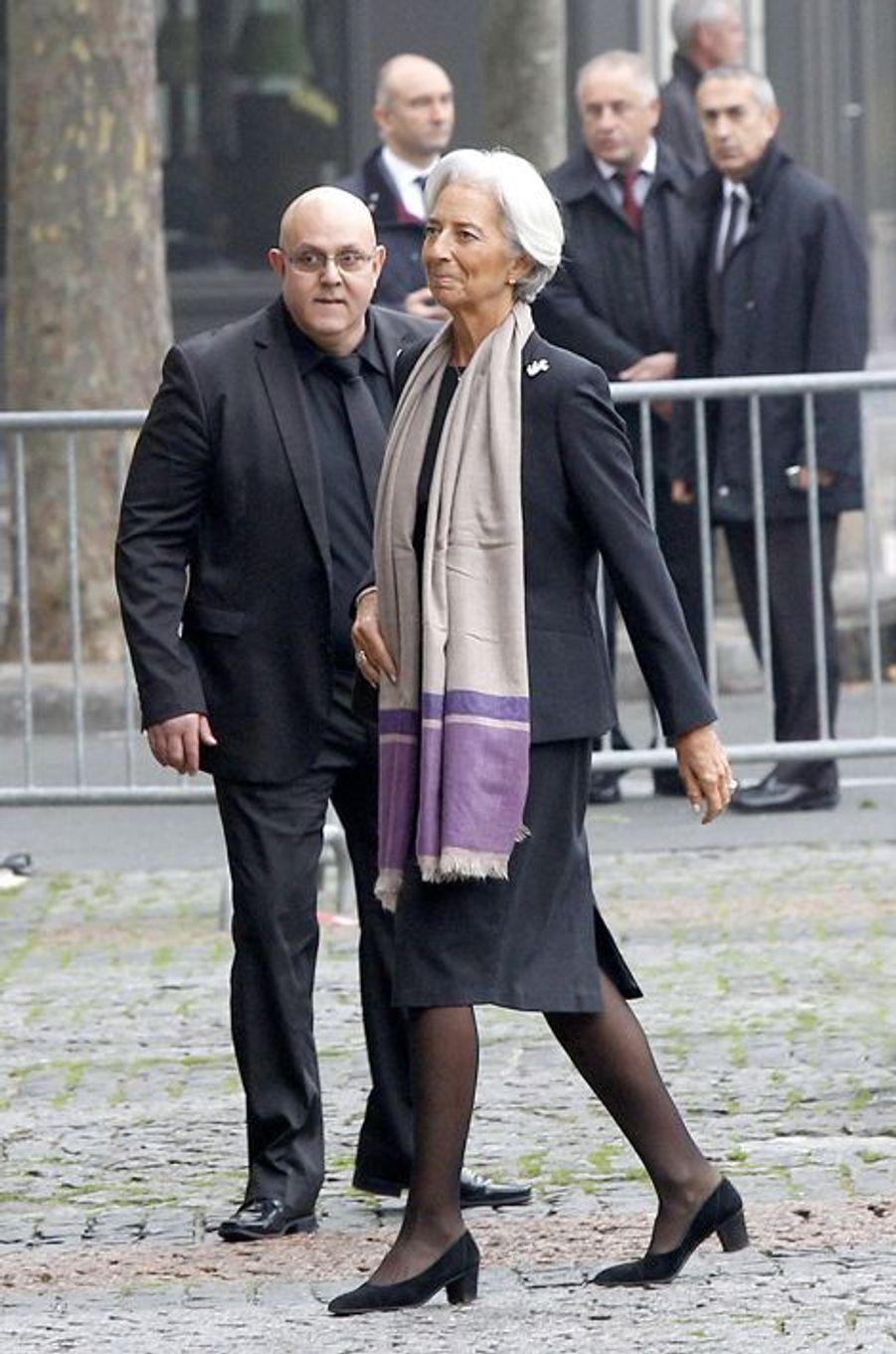 Christine Lagarde à l'hommage à Christophe de Margerie qui a été rendu au sein de l'église Saint-Sulpice à Paris