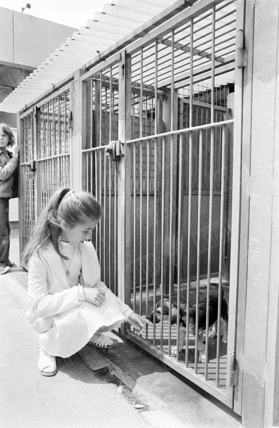 «Anne a eu un coup de coeur pour ce chiot de trois mois, perdu dans sa grande cage.»(Paris Match n°1625, 18 juillet 1980)