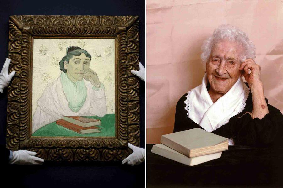 En 1988, Jeanne Calment, alors âgée de 113 ans, pose à la façon de l'Arlésienne de Vincent Van Gogh, pour le photographe de Paris Match Manuel Litran. (À gauche, le tableau de 1890, exposé pour une vente aux enchères chez Christie's à Londresen 2006).