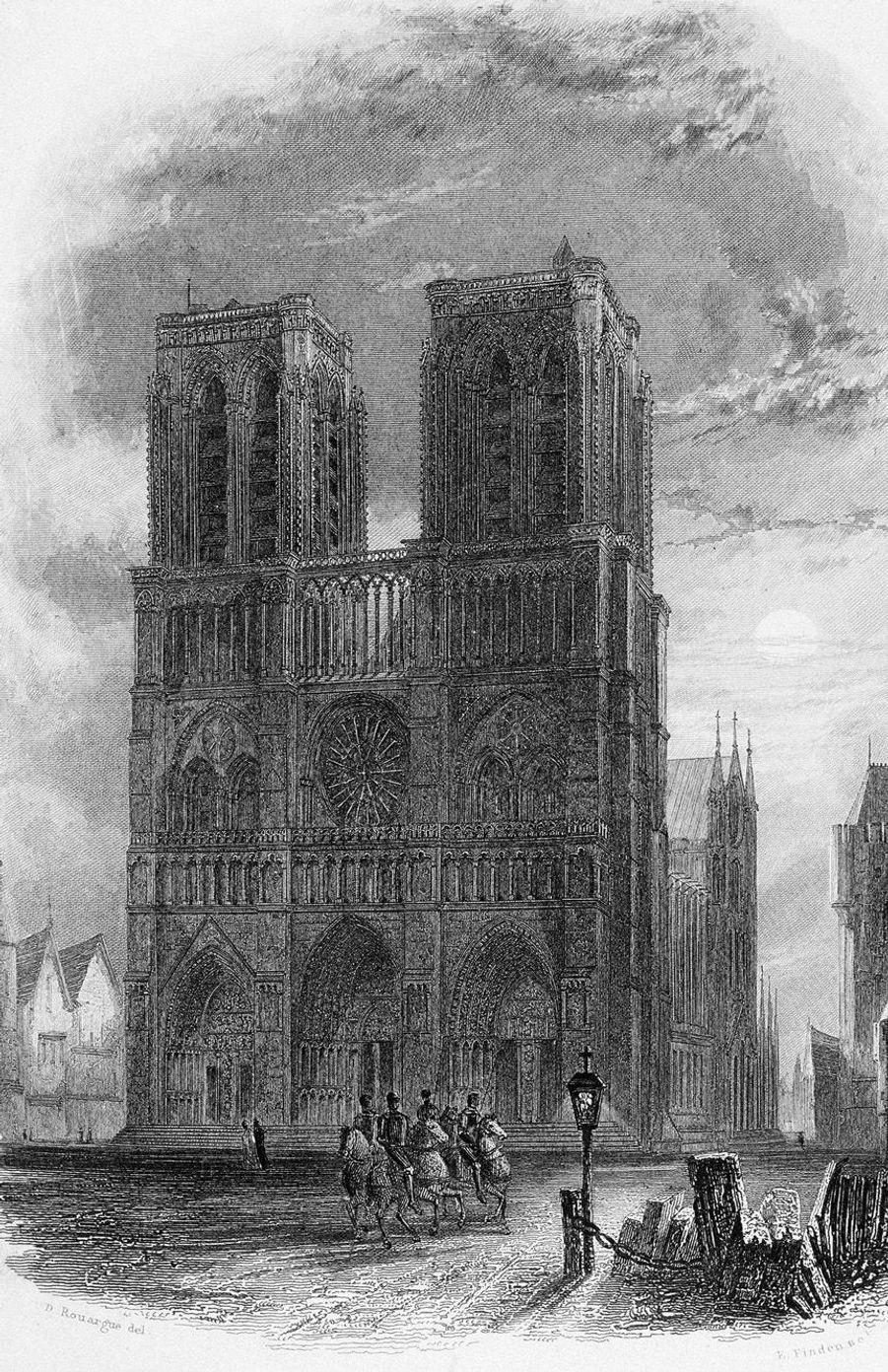 Dessin de Notre-Dame en 1836 pour le roman de Victor Hugo.