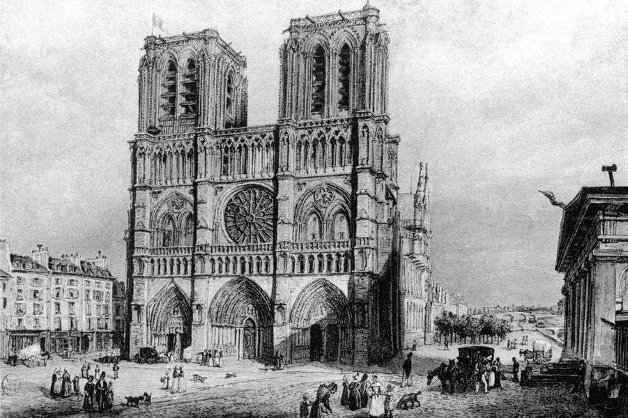 Gravure du parvis de Notre Dame en 1840.