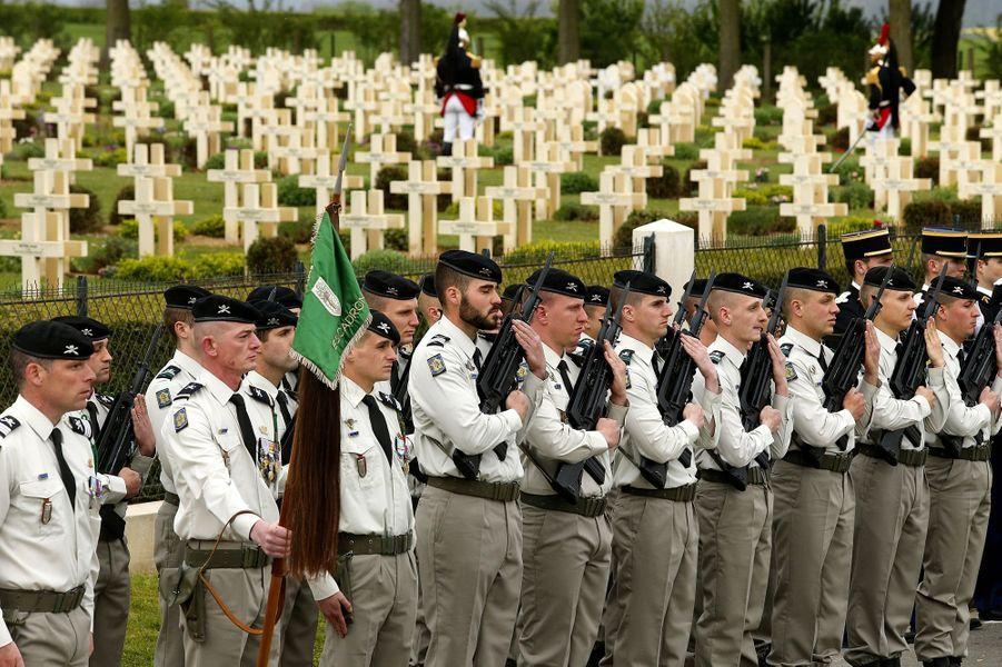A Cerny-en-Laonnois pour la commémoration du centenaire dela bataille du Chemin des Dames, le 16 avril 2017.